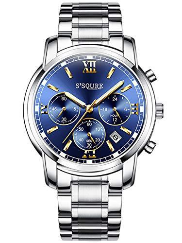 Alienwork Herren Damen Armbanduhr Quarz Silber mit Edelstahl Metallarmband Kalender Datum blau