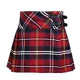 Agoky Kinder Mädchen Rock Röcke Kariert Schottischer Kilt Tartan Rot Klassischer Rock Uniform Kleid Highland Stewart Muster mit 2 Lederriemen und Schnallen gr.104-164 Rot 152(Taille 68cm)