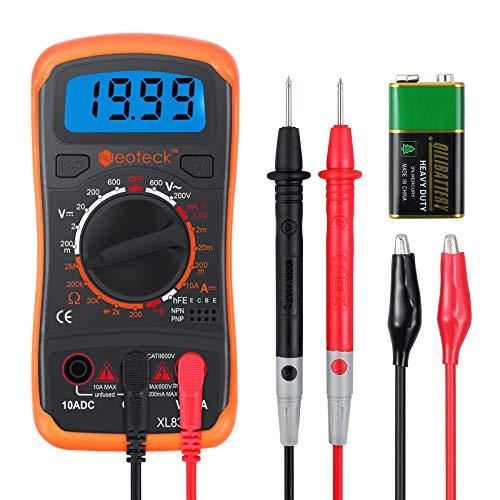 Neoteck Mini Digital Multimeter Digitaler Multimeter mit Manuellem Bereich Messinstrument Voltmeter Ammeter Ohmmeter AC DC Spannung DC Strom Widerstand Transistor Buzzer mit LCD