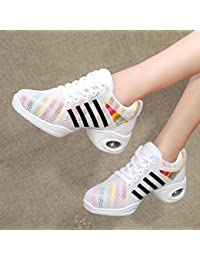 5477154e6 PENGFEI Zapatos De Baile Jazz Deportes Zapatillas Botas Primavera Y Verano  Medio Talón Respirable Fondo Suave Malla De Las Mujeres 2…