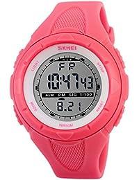 Happy Cherry Deportivo LED Reloj Digital de Cuarzo con Correa de Gaucho Esfera Grande Multifunción Alarma Cronómetro Calendario Waterproof Wrist Watch Para Mujer Chica - Magenta