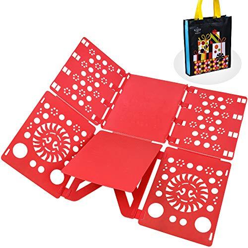 BoxLegend Doblador de Camisetas Camisas Ropa Adulto Infantil-Tabla para Doblar Ropa 57 * 70cm Rojo Plegar Camisetas Camisas Ropa