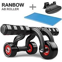 ranbow Entrenamiento de abdominales AB Roller–Rodillo de entrenamiento eficiente tronco de abdomen, espalda y musculatura de los hombros de entrenamiento con rodillera–Fregadero y freno Tope