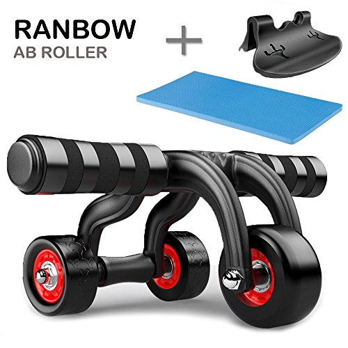 Ranbow Bauchmuskeltraining Ab roller Bauchtrainer Effizientes Oberkörpertraining der Bauch, Rücken und Schultermuskulatur mit Knieauflage und Bremsstopper