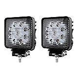 LED Scheinwerfer 27W Arbeitsscheinwerfer Arbeitslicht IP67 Flutlicht SUV Abstrahlwinkel 60 Grad 2430LM Weiß Rückfahrscheinwerfer, 2 Stück