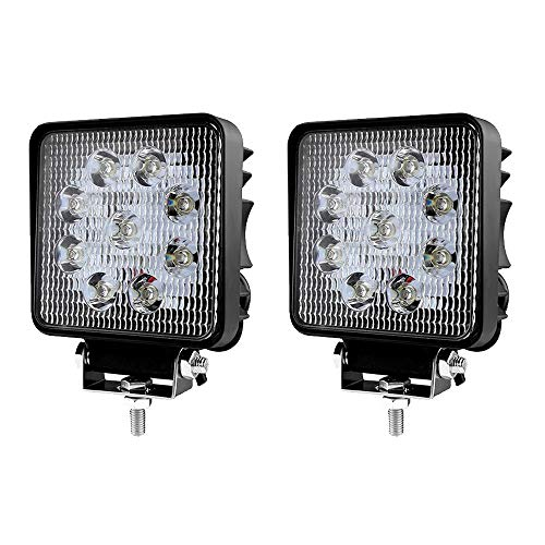 LED Scheinwerfer 27W Arbeitsscheinwerfer Arbeitslicht IP67 Flutlicht SUV Abstrahlwinkel 60 Grad 2430LM Weiß Rückfahrscheinwerfer, 2 Stück -