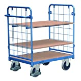 Cordes Etagenwagen, 2 Gitterwände, 3 Ladeflächen, Ladefläche LxB 1200x800 mm, Außenmaße LxBxH 1383x817x1216 mm, Traglast 500 kg