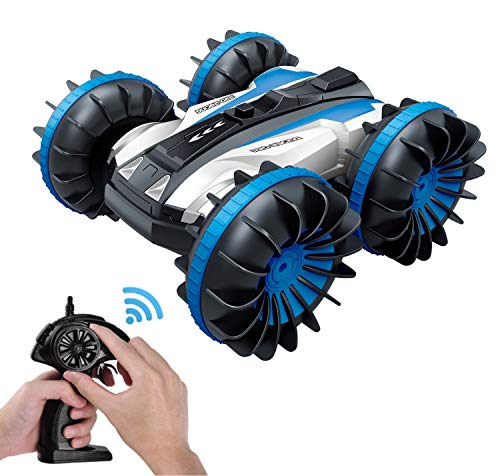 KINGBOT Rc Cars, Waterproof Stunt Car Remote Control Amphibious Cars with 2 Sides Driving On Water & Land Electric Stunt Car Toys for Children