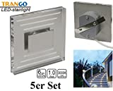 5x IP44 Design LED Treppenbeleuchtung Wandstrahler 230V 3000K warmweiss Trango TGSL-013