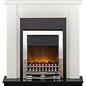 Adam Georgian Fireplace Suite in Pure White with Blenheim Electric Fire in Chrome, 39 Inch