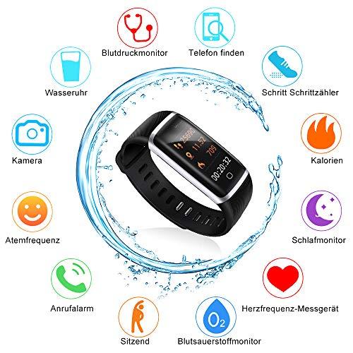 Pulsera Actividad Thustar Reloj deportivo Inteligente Pantalla Color Fitness Tracker con Monitor de Ritmo Cardíaco las 24 Horas / Impermeable IP68 / Modos de Ejercicio / Monitor de Sueño / Pronóstico del Tiempo/ SMS/ Mensajes para Facebook WhatsApp Twitter y Más