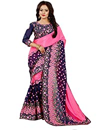 Tread India Women's Chiffon Saree with Blouse Piece(Tread-pc-106_Pink and Blue_Free Size)
