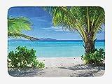 VYPHN Tropical Bath Mat, Idyllic Tranquil Ocean View Holiday Vacation Resort Beach Plants Seaside, Plush Bathroom Decor Mat with Non Slip Backing, 15.7X23.6 inch, Green Aqua Coconut