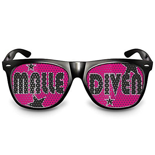 """COOLEARTIKEL Partybrille Motiv """"Malle Diven""""   beklebte Sonnenbrille   Spaßbrille für Mottoparty   Atzenbrille/Fliegerbrille mit UV-Schutz   UV 400 Filter 3   (Ideen Drei Kostüm Könige)"""