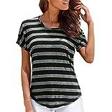 Manadlian Camiseta para Mujer Casual Verano Manga Corta para Mujer Bohemio  O Cuello Rayas Impresas Camiseta fa97be9b07a00