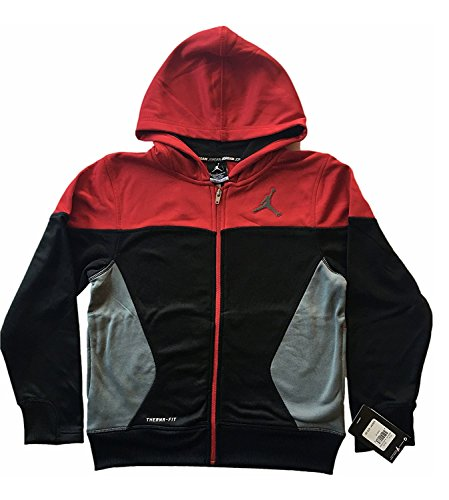 Jordan Nike Jungen Jordan S FLIGHT Full Zip Hoodie Sweatshirt Rot Schwarz Größe M Medium (Jungen Jordan Jacke)