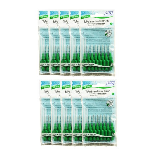 TePe Interdentalbuerste 0,8mm grün, 10 Pakete von 8 (80 Bürsten)