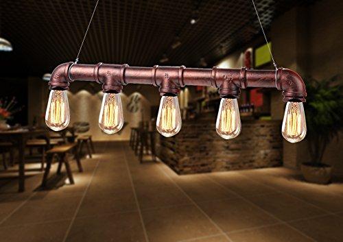 Fuloon Pipe Vintage Luces pendientes Agua Lámpara colgante con 5 Edison Bulbos color de bronce antiguo Iluminación Lámpara de techo para Cafe Bar 110v / 220v