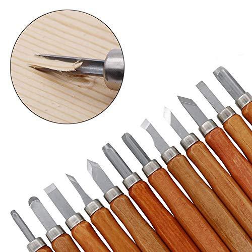 Holzschnitzerei Messer, 12pcs/Set SK2 Carbon Steel Wood Carving Tools Knife Kit handmade Crafting Chisel Knife für Kinder Erwachsene & Anfänger Profis