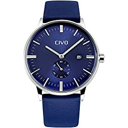 CIVO Men's Simple Design Blue Leather Band Wrist Watch Mens Classic Fashion Dress Analogue Quartz Wrist Watches 30m Waterproof Luxury Business Casual Wristwatch with Blue Sub Dial and Date Calendar
