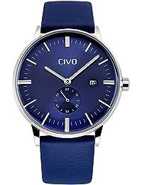 CIVO Montres Hommes Simple Désign Bande de Cuir Montre Bracelet Homme Classique Mode Robe Montres Bracelet à Quartz Analogique 30M Etanche Luxe avec Sub Dial et Date Calendrier (Bleu)