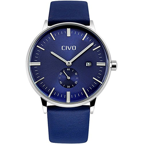 CIVO-Mens-Simple-Design-Blue-Leather-Band-Wrist-Watch-Mens-Classic-Fashion-Dress-Analogue-Quartz-Wrist-Watches-30m-Waterproof-Luxury-Business-Casual-Wristwatch-with-Blue-Sub-Dial-and-Date-Calendar