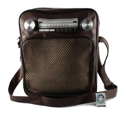 """Superfreak® Tasche """"Radio"""" Umhängetasche Radiotasche groß & hoch, alle Farben!!! Braun-dunkel"""