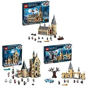 LEGO Harry Potter Gran Comedor de Hogwarts (75954) + Torre del Reloj de Hogwarts (75948) + Sauce Boxeador de Hogwarts (75953), Pack de juguetes de Harry Potter, Construye la Escuela de Magia
