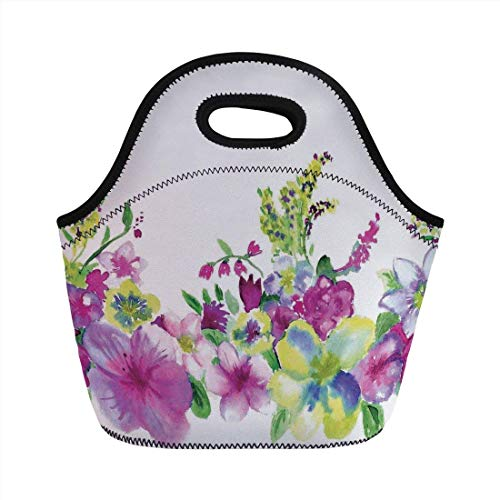 Portable Bento Lunch Bag,Watercolor Flower House Decor,Hybrid Garden Floret Composition with Heathers and Stocks Art,Pink Green,for Kids Adult Thermal Insulated Tote Bags - Hybrid Duffle