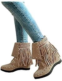 Toasye Frauen Wildleder Quaste Stud Runde Kappe Wedges Schuhe Reine Farbe Schuhe Lace-Up Boots Stiefel
