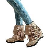 Stiefel Damen Boots Mode Nieten Stiefel Frauen Keile Schuhe Lace-Up Martin Wildleder Schuhe Quaste Freizeitschuhe ABsoar