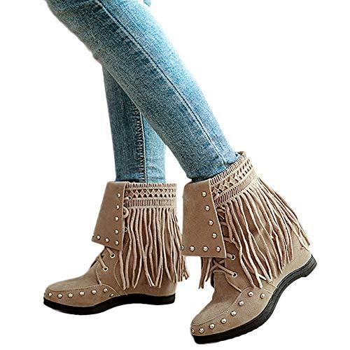 MYMYG Frauen runde Zehe Schuhe Spitze Quaste Wildleder Madeline Boots Chelsea Gummistiefel Damen Retro Solide Short Suede Boot Schnür Stiefeletten Stiefel High-Top Zipper Frauen ()