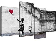 Idea Regalo - Wallfillers Quadro su Tela Banksy Extra Large, ragazza con palloncini, 130 cm XL Rosso | Set 4050