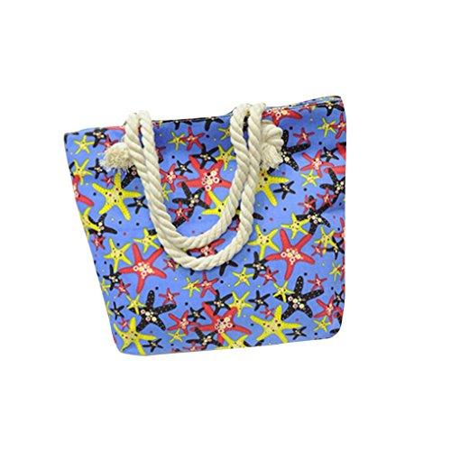 Transer Canvas Handbags & Single Shoulder Bags Women Zipper Bag Girls Hand Bag, Borsa a spalla donna Yellow 40cm(L)*35(H)*10cm(W) Blue