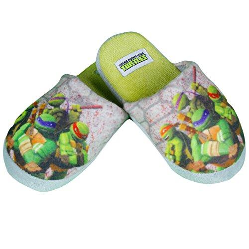 Jungen Hausschuhe Pantoffeln Latschen Gr 29/30 grau grün Teenage Mutant Ninja (Teenage Turtle Schuhe Mutant Ninja)