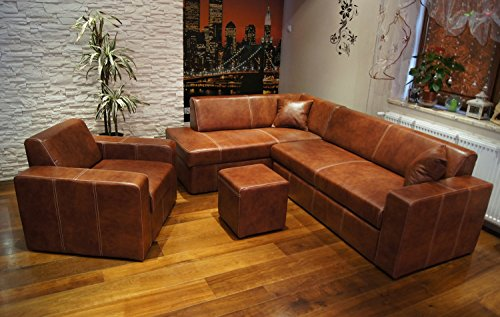 """Echtleder Set \""""ANTALYA I \"""" Ecksofa 245 x 164cm + Sessel + Hocker + 2 x Lederkissen Sofa Couch mit Schlaffunktion und Bettkasten Echt Leder Eck Couch Garnitur"""