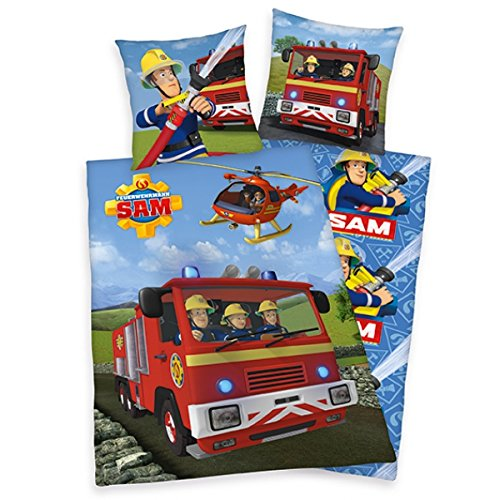 feuerwehrmann sam bettwaesche flanell Feuerwehrmann Sam Bettwäsche mit Wende Motiv 135x200 cm + 80x80 cm Flanell