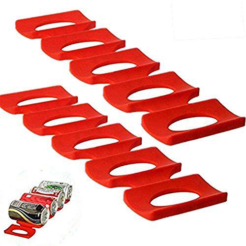 Bac pour Refrigerateur Tapis Rangement Frigo Organisateur en Silicone, Range Canette et Support Bouteille Easy Gerbeur, Tapis pour Ranger Bouteille Frigo Organisation. (Rouge, Paquet de 2 Piéces)