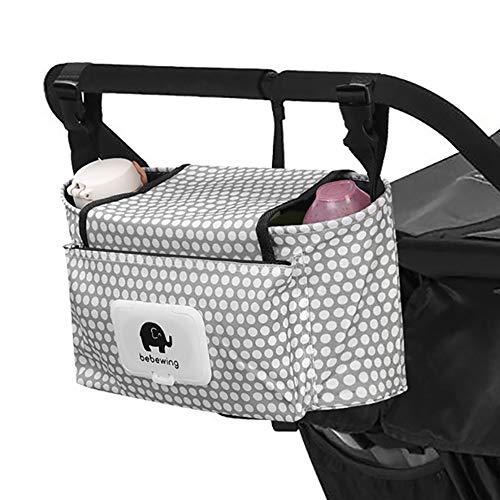 Kinderwagen Organizer,Kinderwagentasche Buggy Bag Universal Aufbewahrungstasche Stroller Organizer Baby Wickeltasche Kinderwagen-Zubehör -Weißer Punkt