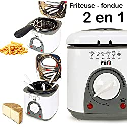 Friteuse et Fondue 2 en 1-950W - 1L + 6 pics à fondue