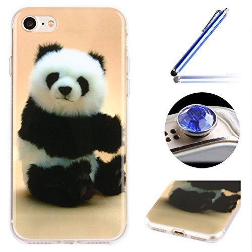 Etsue Doux Protecteur Coque pour iPhone 6/6S,TPU Matériau Frame est Transparent Soft Cover pour iPhone 6/6S,Coloré Motif par Dessin de Mode Case Coque pour iPhone 6/6S + 1 x Bleu stylet + 1 x Bling poussière plug (couleurs aléatoires)- Panda