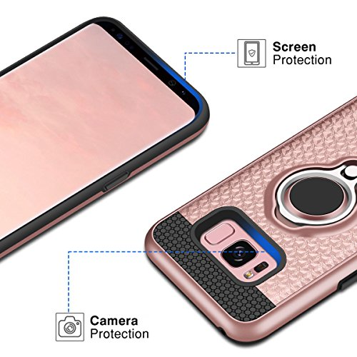 Samsung Galaxy S8 Hülle, Coolden® Premium [Kickstand] Handyhülle mit KFZ Handy Halter Finger 360 Grad View Ständer Soft Silikon + 3D Glitzer Hardcase + Metallplatte Outdoor Stoßfest Schutzhülle für Samsung Galaxy S8 (Rose Gold)