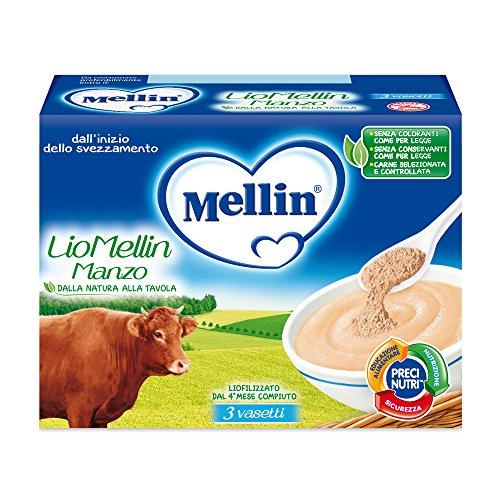 Mellin LioMellin Liofilizzati per Bambini al Gusto Manzo 3 Vasetti da 10 gr Totale 30 gr