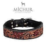MICHUR Juan Hundehalsband, Lederhalsband, Halsband, SCHWARZ, Leder, mit roten Blumenmuster, in verschiedenen Größen erhältlich