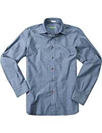 Signum Herren Hemd Kent Baumwolle Oberhemd Gepunktet, Größe: L, Farbe: Blau