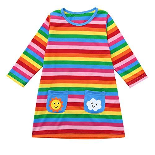 LEXUPE (12M-5T DZ00181 Kinder Langarm Regenbogen Gestreift Sun Cloud Print Kleid Kleid Kleinkind-Baby-MäDchen-Lange HüLsen-Karikatur-Regenbogen-Gestreifter Druck-Kleid-Kleidung