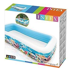 Intex- Piscina Family Pesci, Colore Bianco/Fantasia Marino, 305x183x56 cm, 58485