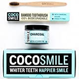 Sbiancamento Denti: Activated Charcoal Teeth Whitening Powder | Carbone attivo Sbiancamento Dentale Cocosmile | 90 g di polvere di carbone attivo | sbiancamento dei denti | Il carbone attivo | Cocosmile | dentifricio carbone attivo con spazzolino bambù immagine