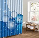 JIACURTAIN Duschvorhänge Badezimmer Dusche Vorhang für Weihnachten Urlaub Schneeflocke Sterne 60