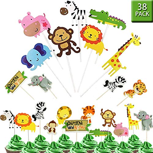 Dschungel-Safari Tier-Cupcake-Topper - 38 Stück Zoo-Tiere Kuchen-Dekorationen Lebensmittel-Picks Tiermotive Party Supplies Kinder Geburtstag Baby Dusche Tiermotive Party Dekoration (Party Leopard-geburtstag Supplies)